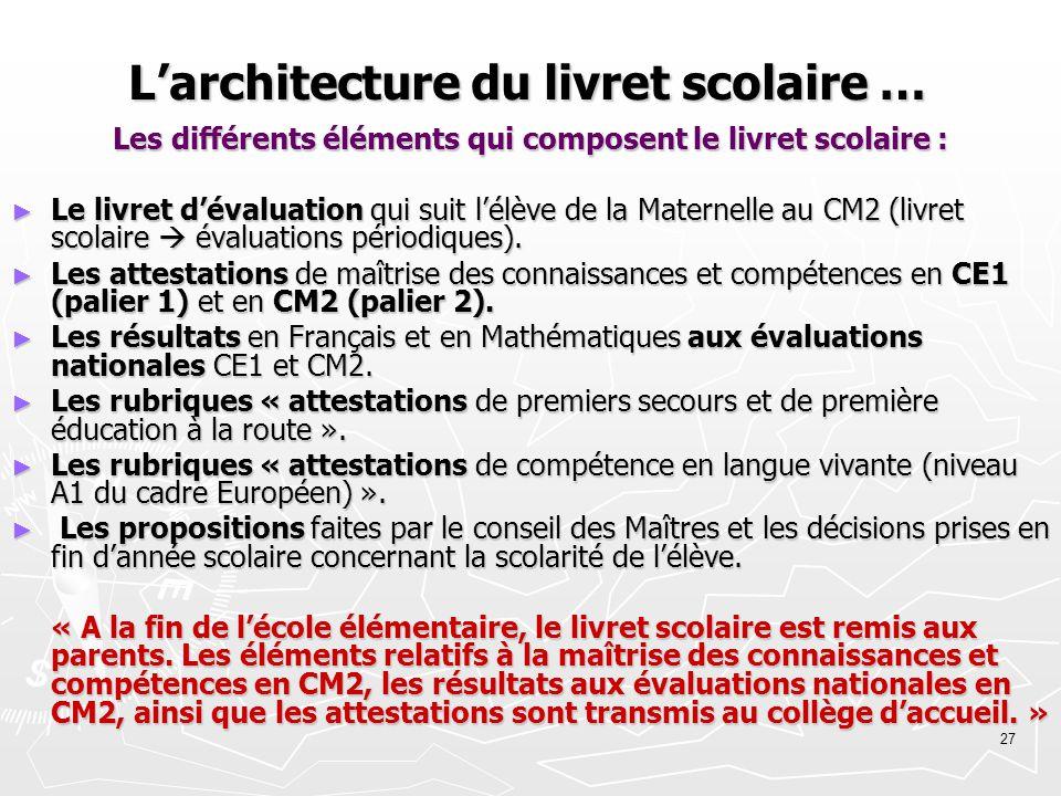 L'architecture du livret scolaire …