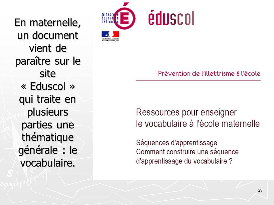 En maternelle, un document vient de paraître sur le site « Eduscol » qui traite en plusieurs parties une thématique générale : le vocabulaire.