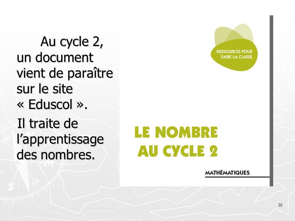 Au cycle 2, un document vient de paraître sur le site « Eduscol ».