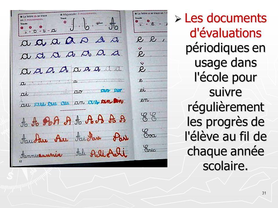 Les documents d évaluations périodiques en usage dans l école pour suivre régulièrement les progrès de l élève au fil de chaque année scolaire.