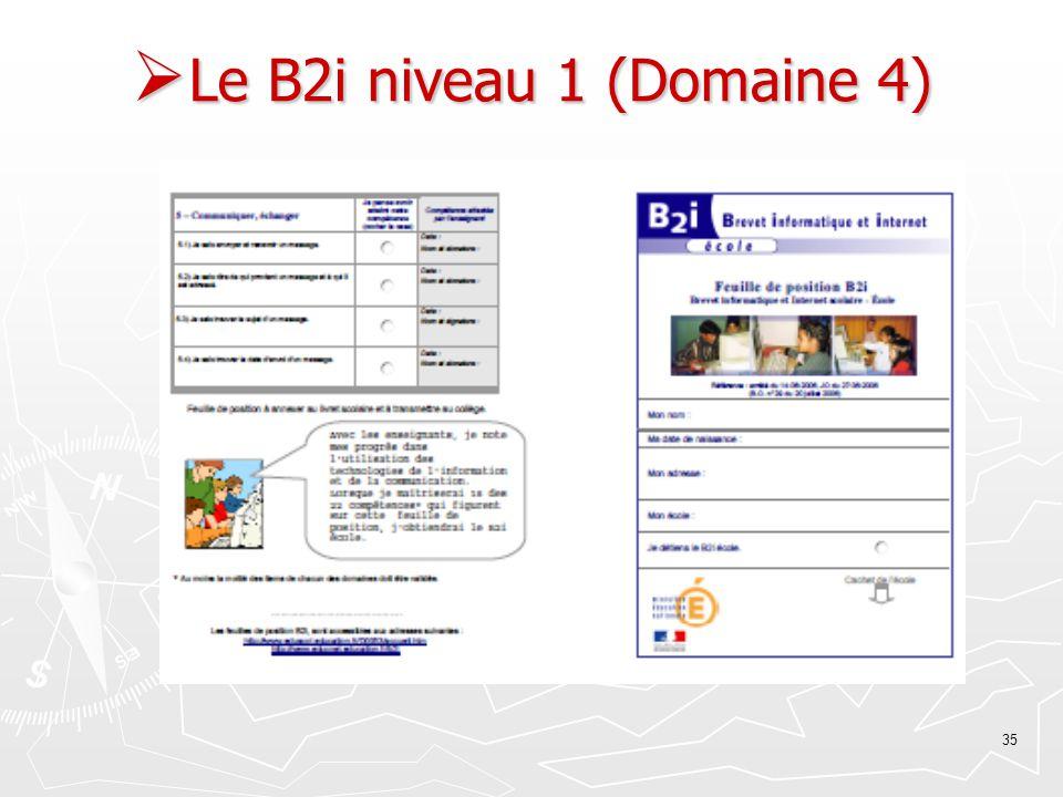 Le B2i niveau 1 (Domaine 4)