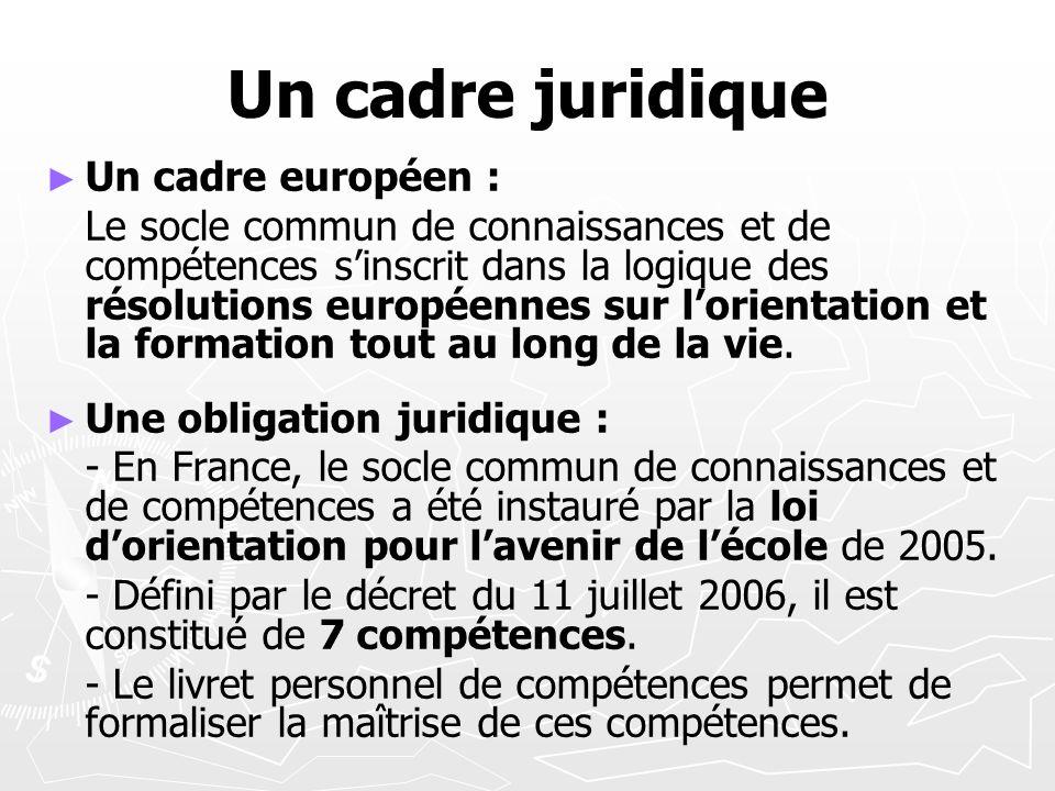 Un cadre juridique Un cadre européen :