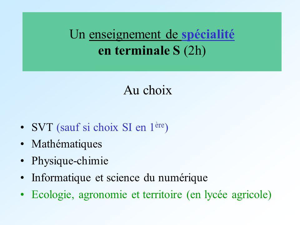 Un enseignement de spécialité en terminale S (2h)