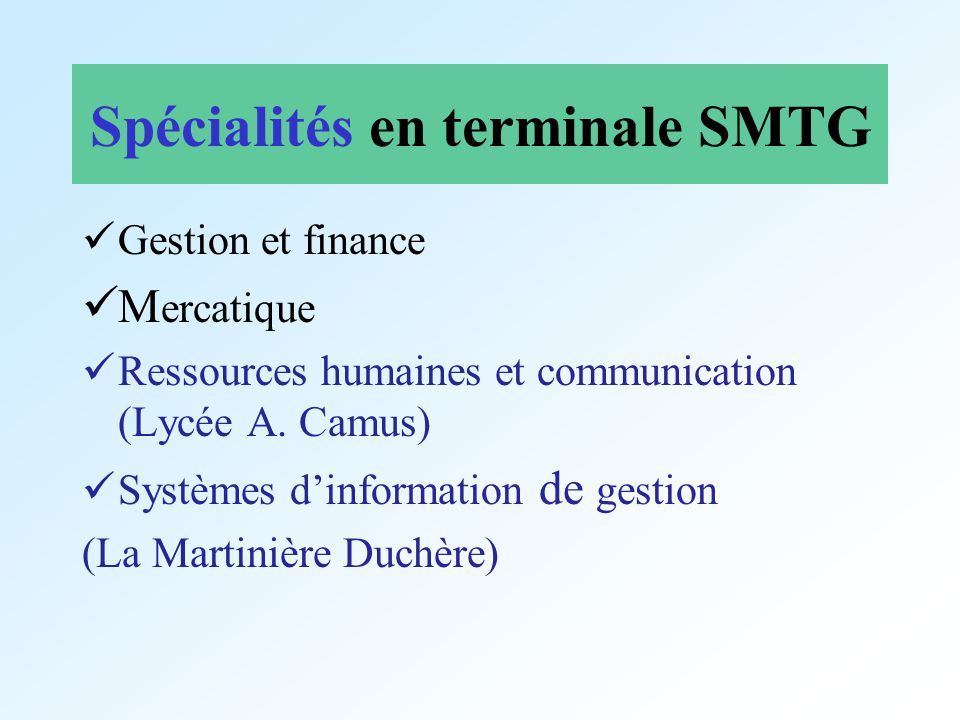 Spécialités en terminale SMTG