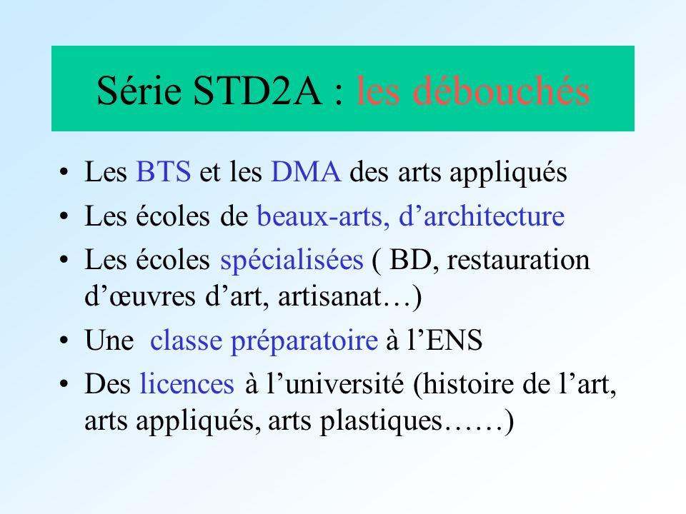 Série STD2A : les débouchés