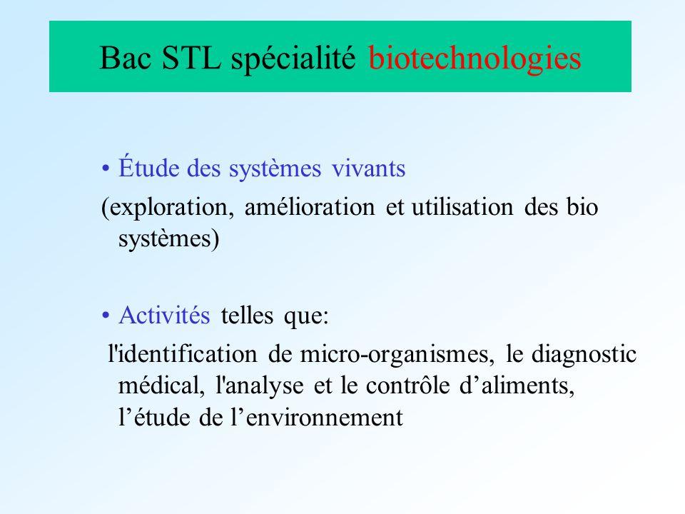 Bac STL spécialité biotechnologies