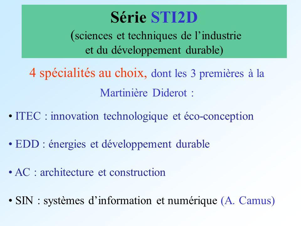 Série STI2D (sciences et techniques de l'industrie