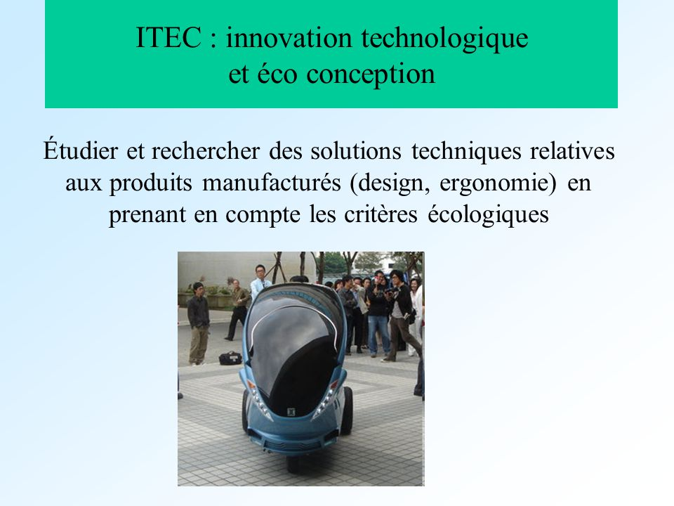 ITEC : innovation technologique et éco conception