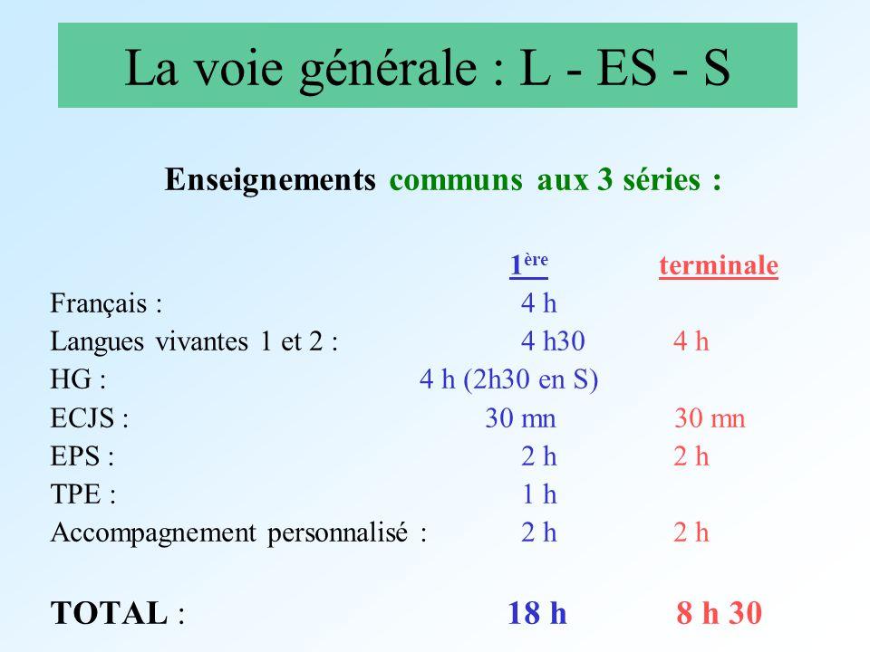 La voie générale : L - ES - S