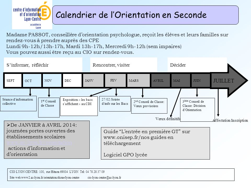 Calendrier de l'Orientation en Seconde