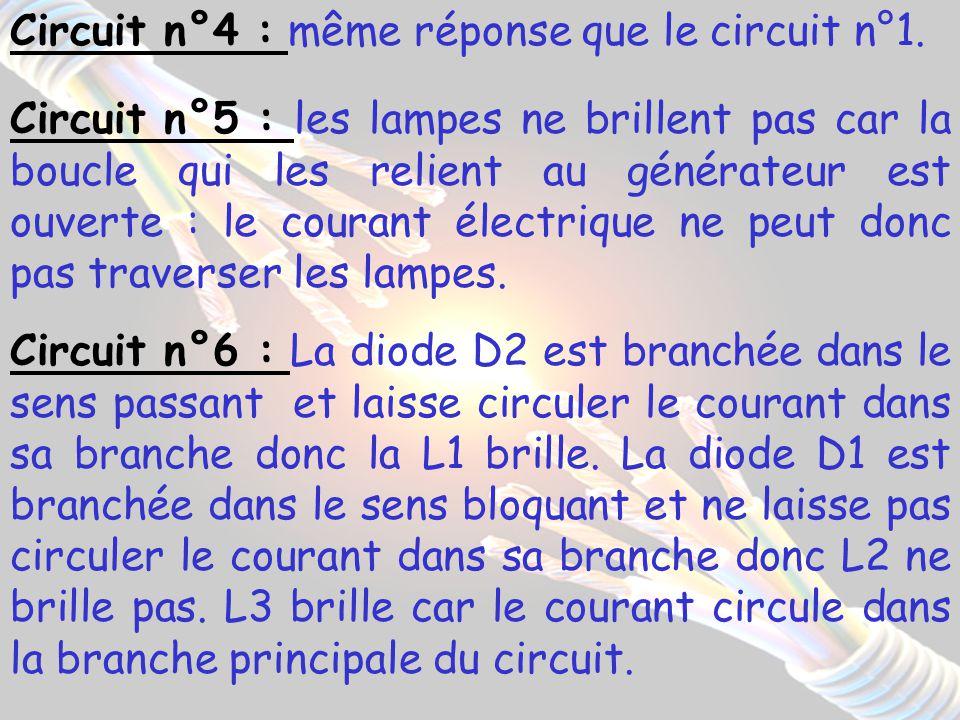 Circuit n°4 : même réponse que le circuit n°1.
