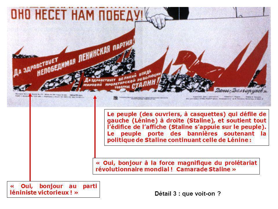 Le peuple (des ouvriers, à casquettes) qui défile de gauche (Lénine) à droite (Staline), et soutient tout l'édifice de l'affiche (Staline s'appuie sur le peuple). Le peuple porte des bannières soutenant la politique de Staline continuant celle de Lénine :