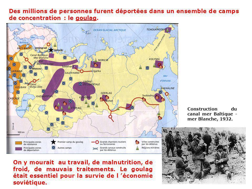 Des millions de personnes furent déportées dans un ensemble de camps de concentration : le goulag.