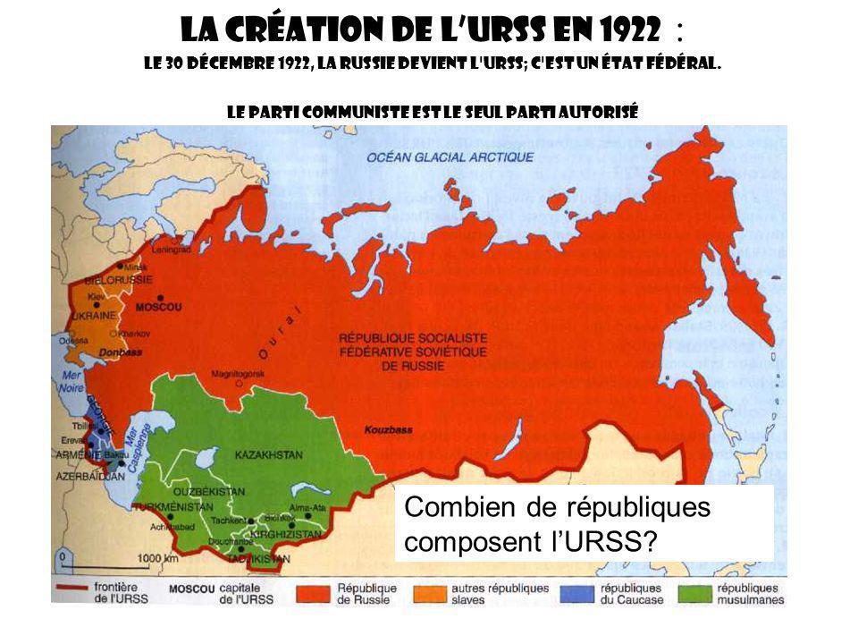La création de l'URSS en 1922 : Le 30 Décembre 1922, la Russie devient l URSS; c est un état fédéral. Le parti communiste est le seul parti autorisé