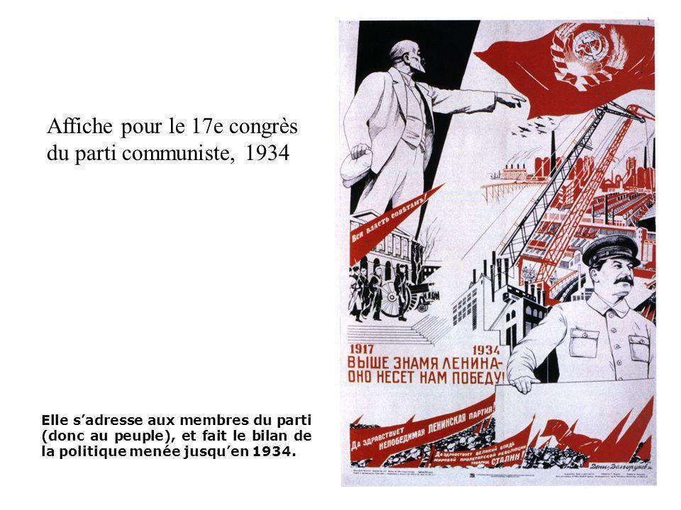Affiche pour le 17e congrès du parti communiste, 1934