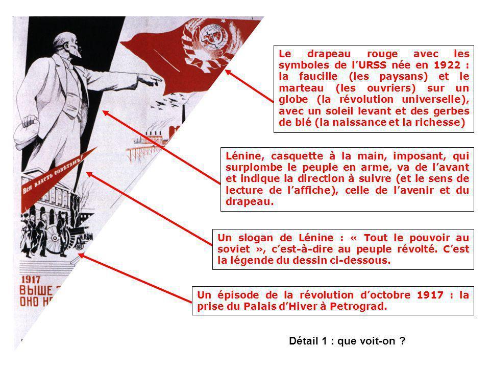 Le drapeau rouge avec les symboles de l'URSS née en 1922 : la faucille (les paysans) et le marteau (les ouvriers) sur un globe (la révolution universelle), avec un soleil levant et des gerbes de blé (la naissance et la richesse)