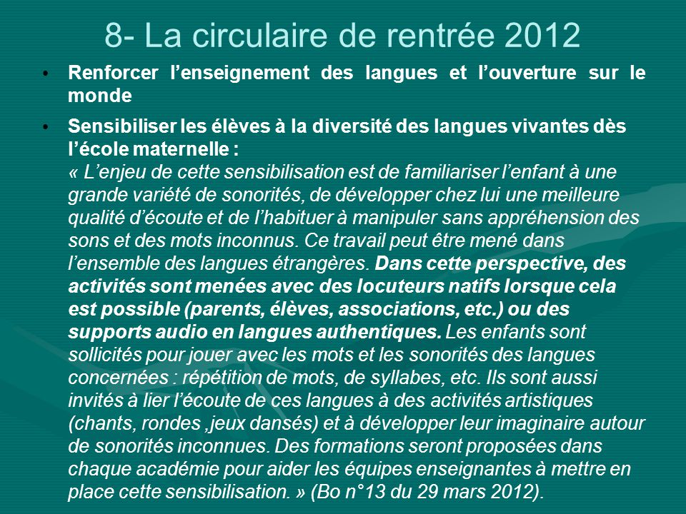 8- La circulaire de rentrée 2012