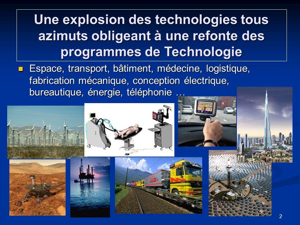 Une explosion des technologies tous azimuts obligeant à une refonte des programmes de Technologie