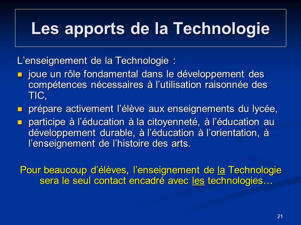 Les apports de la Technologie