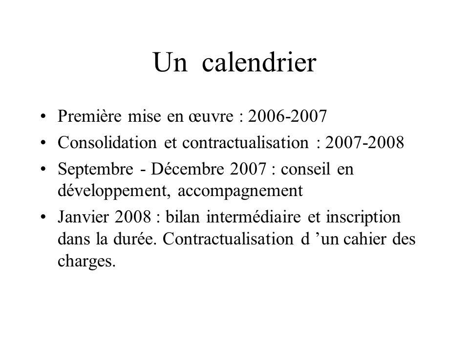Un calendrier Première mise en œuvre : 2006-2007
