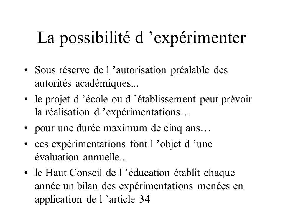 La possibilité d 'expérimenter