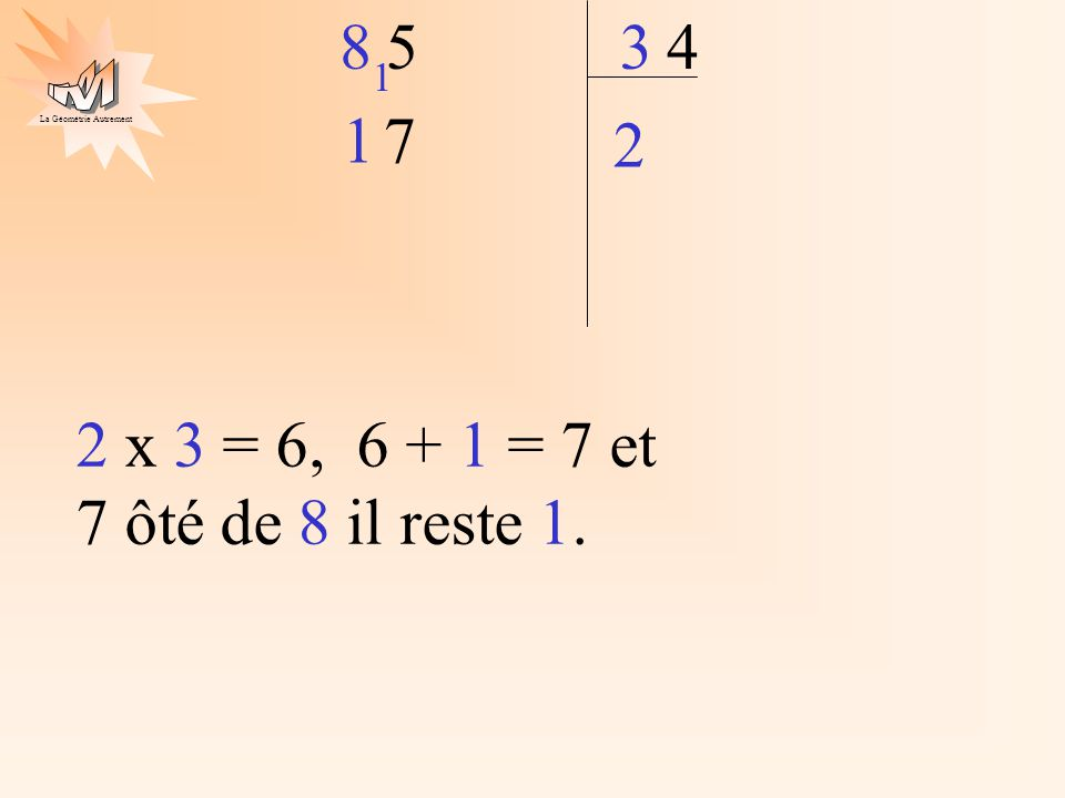 2 4 5 8 3 1 1 7 2 x 3 = 6, 6 + 1 = 7 et 7 ôté de 8 il reste 1.