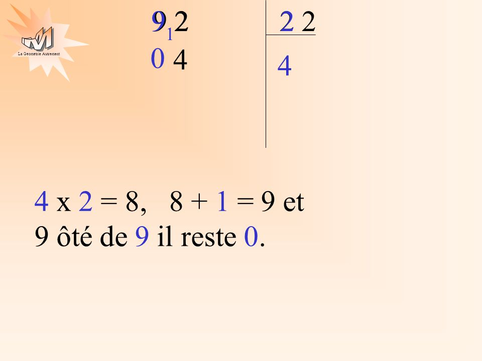 9 9 2 2 2 2 2 1 4 4 4 x 2 = 8, 8 + 1 = 9 et 9 ôté de 9 il reste 0.