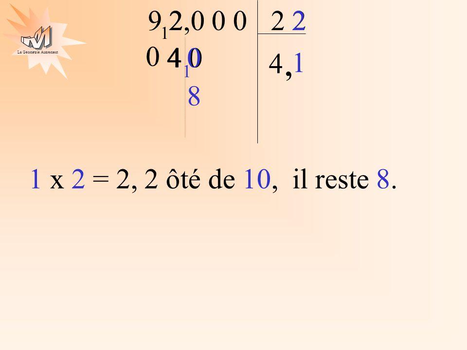 2 1 1 x 2 = 2, 2 ôté de 10, il reste 8. 8 9 2 2,0 0 0 2 2 1 4 0 4 4 ,