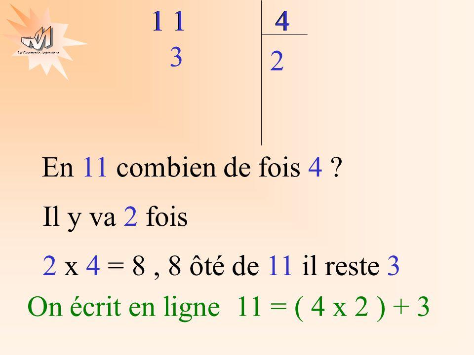 En 11 combien de fois 4 1 1. 4. 1 1. 4. 2 x 4 = 8 , 8 ôté de 11 il reste 3. 3. Il y va 2 fois.