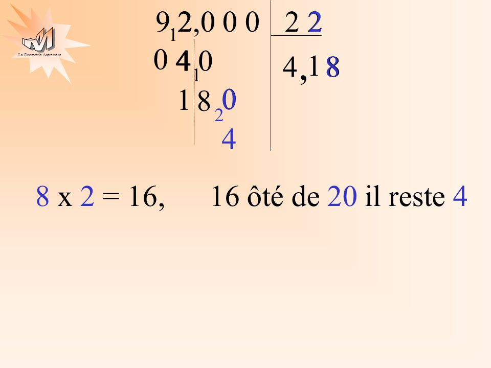 2 8 4 8 x 2 = 16, 16 ôté de 20 il reste 4 9 2 2,0 0 0 2 2 1 4 0 4 4 1 , 8 1 1 8