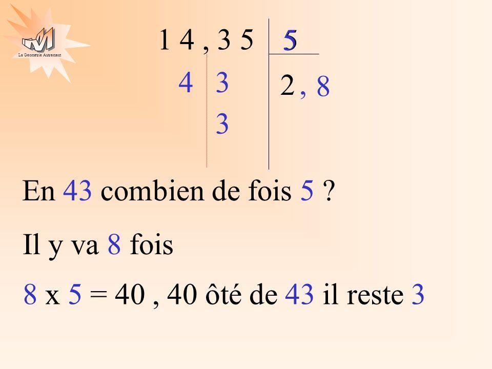 1 4 , 3 5 5. 5. 4. 3. 2. , 8. 3. En 43 combien de fois 5 .