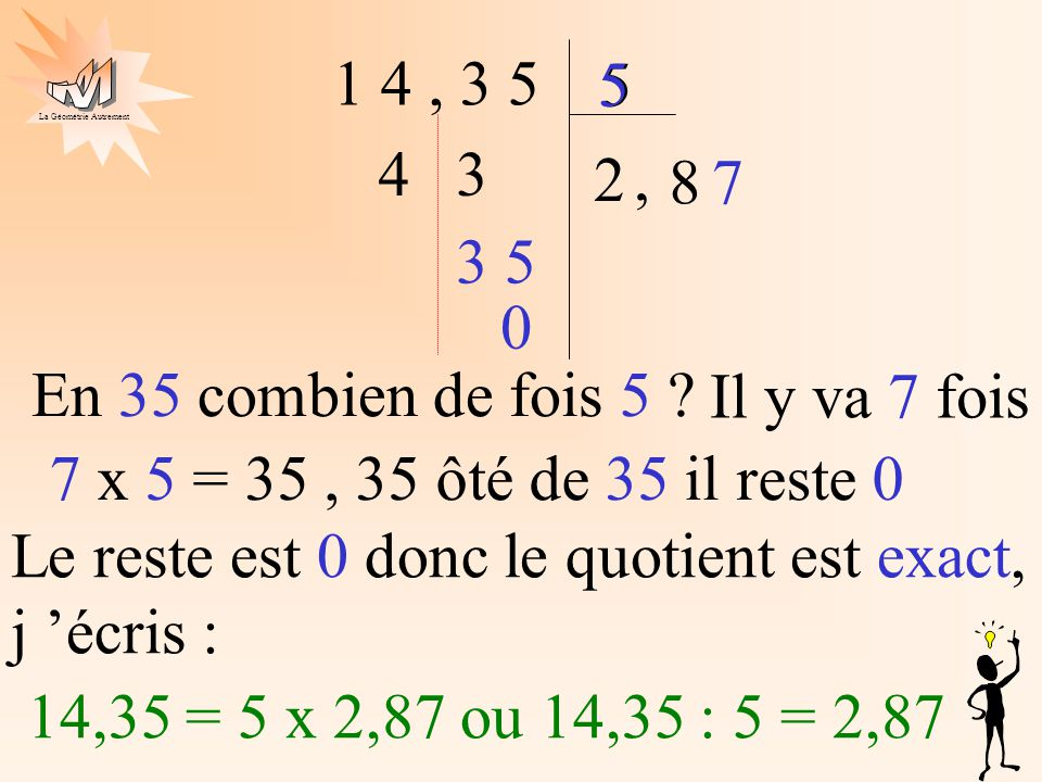 1 4 , 3 5 5. 5. 4. 3. 2. , 8. 7. 3. 5. En 35 combien de fois 5 Il y va 7 fois. 7 x 5 = 35 , 35 ôté de 35 il reste 0.