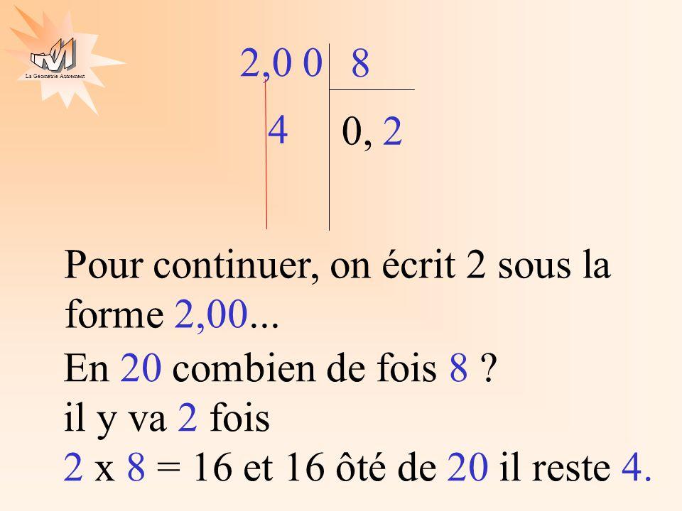 2,0 0 8. En 20 combien de fois 8 il y va 2 fois 2 x 8 = 16 et 16 ôté de 20 il reste 4.