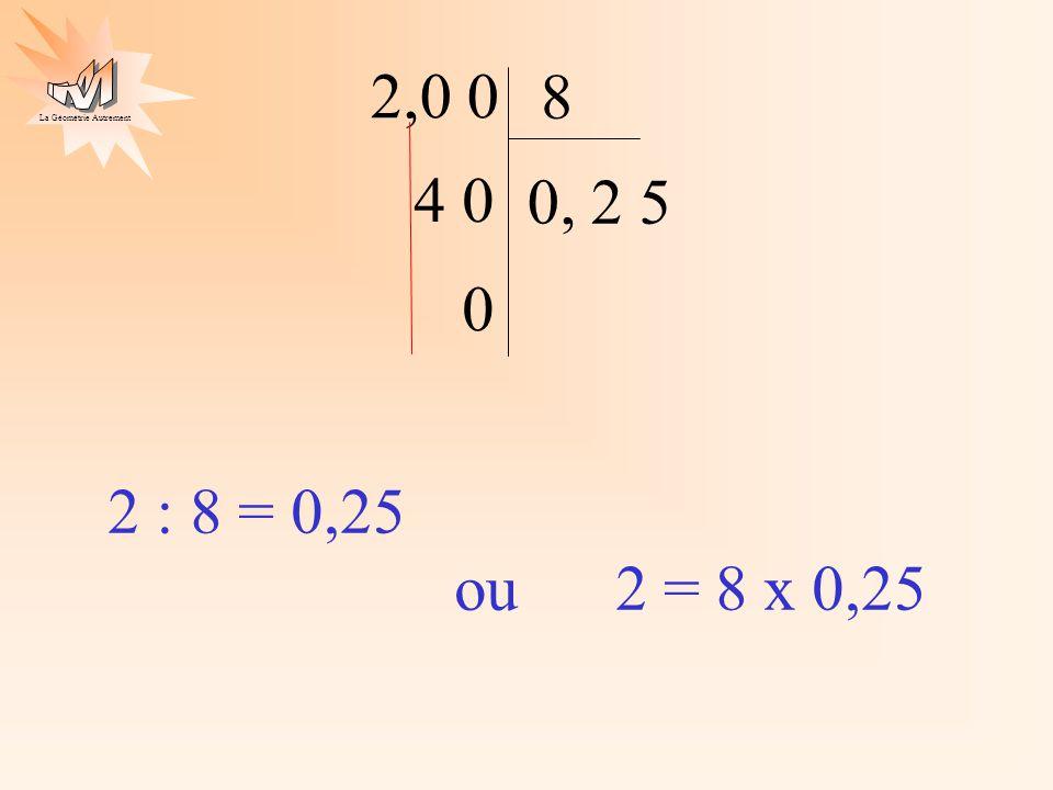 2,0 0 8 4 0 0, 2 5 2 : 8 = 0,25 ou 2 = 8 x 0,25