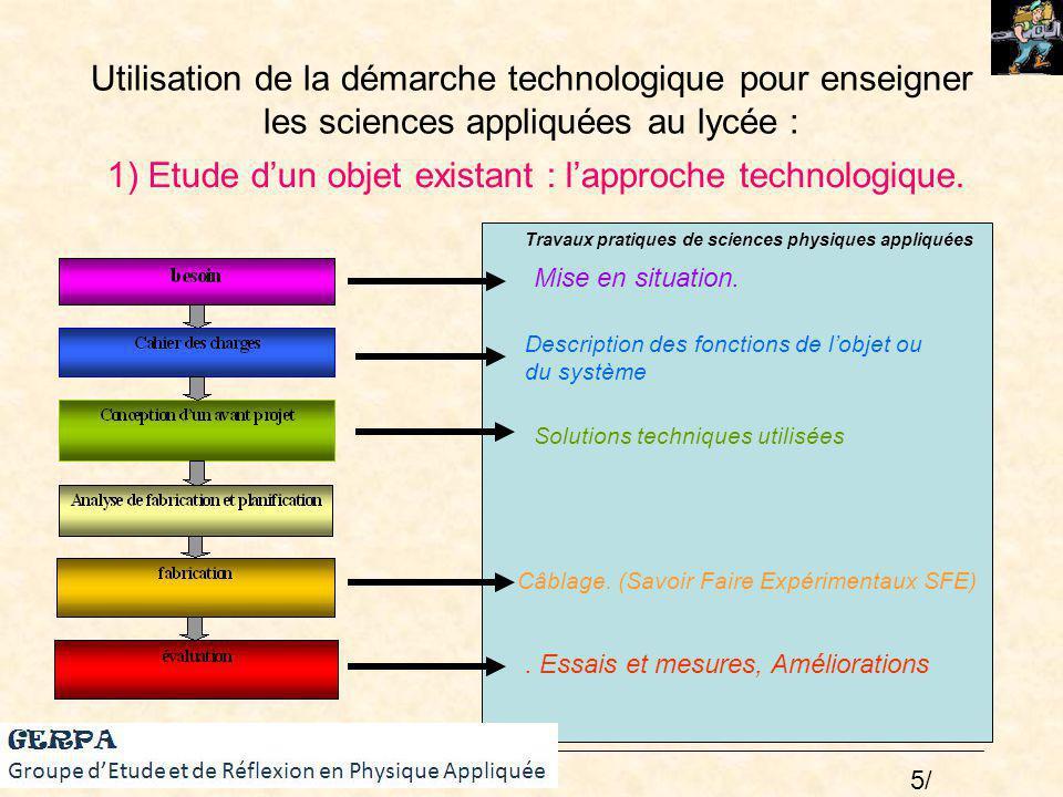 1) Etude d'un objet existant : l'approche technologique.