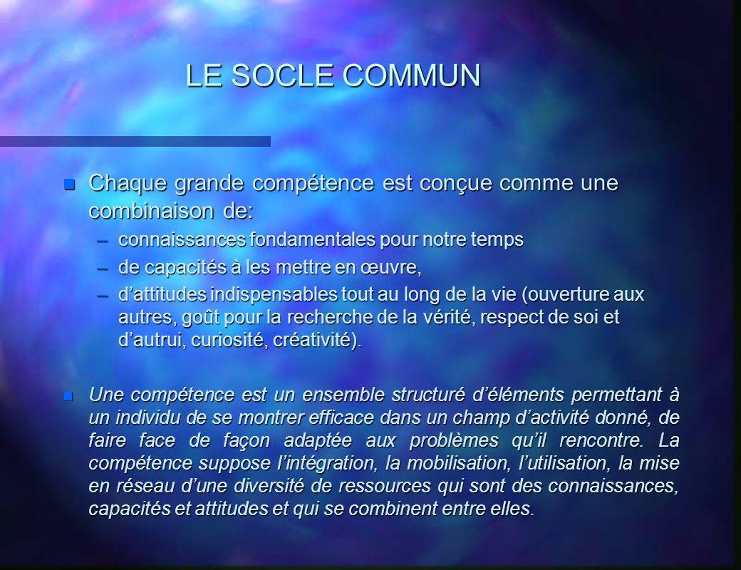 LE SOCLE COMMUN Chaque grande compétence est conçue comme une combinaison de: connaissances fondamentales pour notre temps.