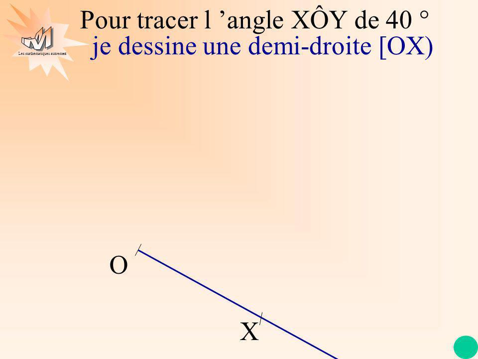 Pour tracer l 'angle XÔY de 40 °