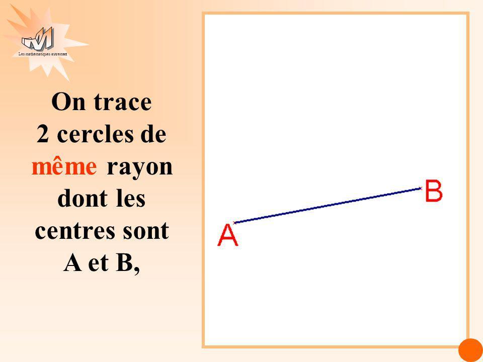 On trace 2 cercles de même rayon dont les centres sont A et B,
