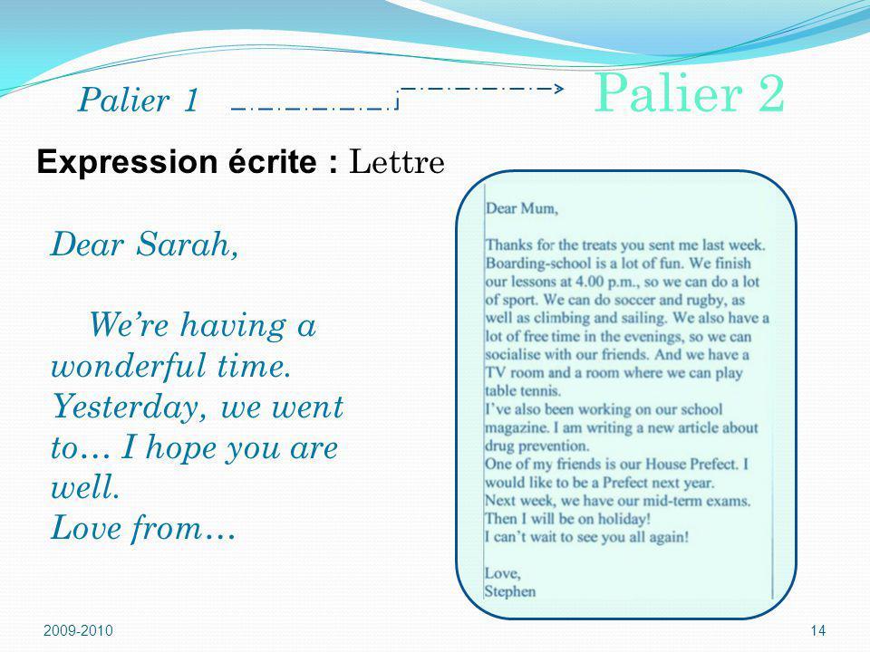Expression écrite : Lettre
