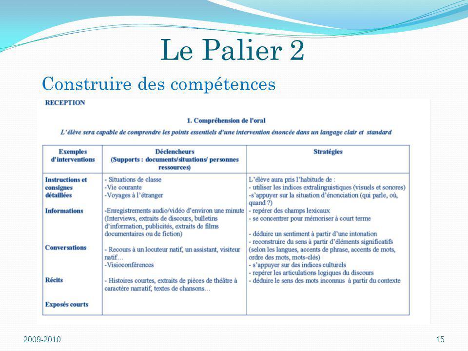 Le Palier 2 Construire des compétences 2009-2010