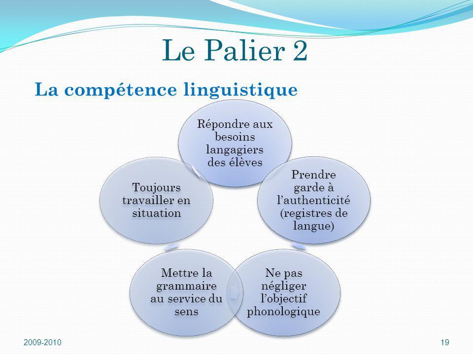 Le Palier 2 La compétence linguistique