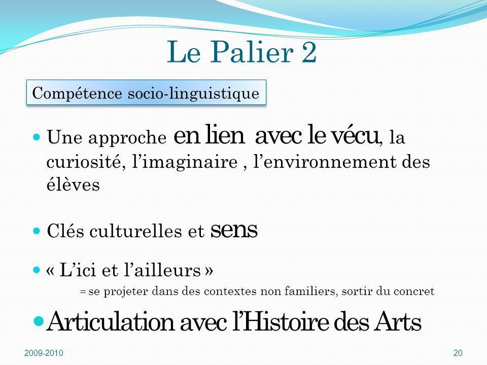 Le Palier 2 Articulation avec l'Histoire des Arts