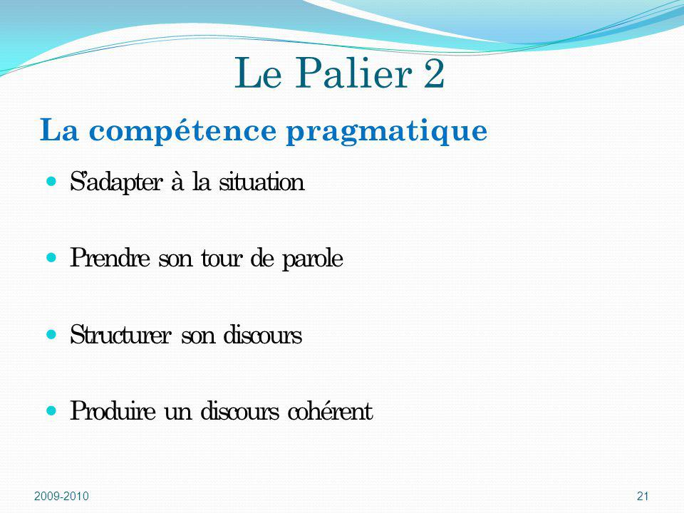 Le Palier 2 La compétence pragmatique S'adapter à la situation
