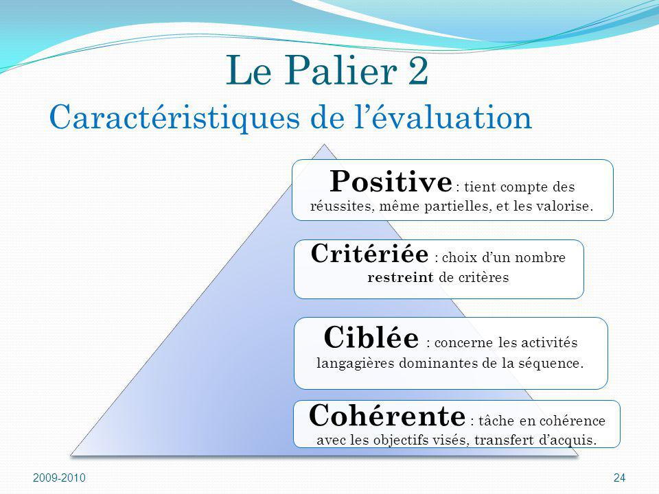 Le Palier 2 Caractéristiques de l'évaluation