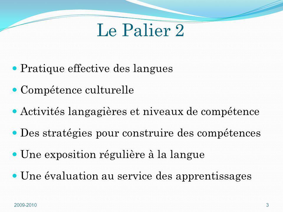 Le Palier 2 Pratique effective des langues Compétence culturelle