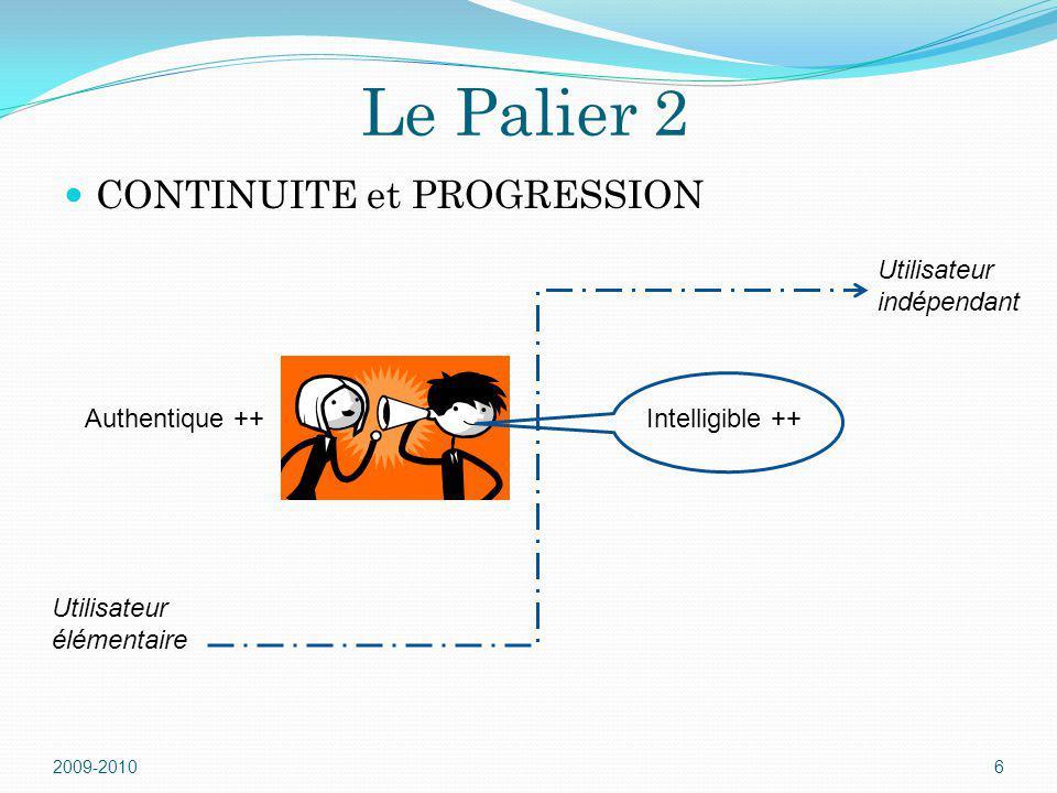 Le Palier 2 CONTINUITE et PROGRESSION Utilisateur indépendant