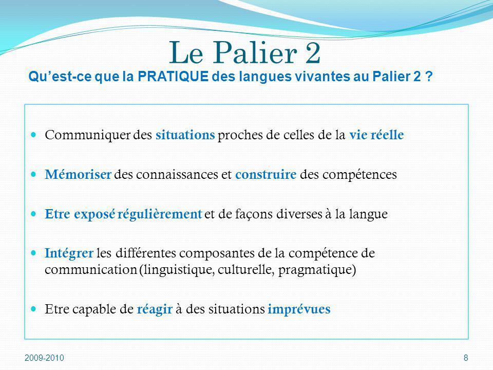 Le Palier 2 Qu'est-ce que la PRATIQUE des langues vivantes au Palier 2 Communiquer des situations proches de celles de la vie réelle.