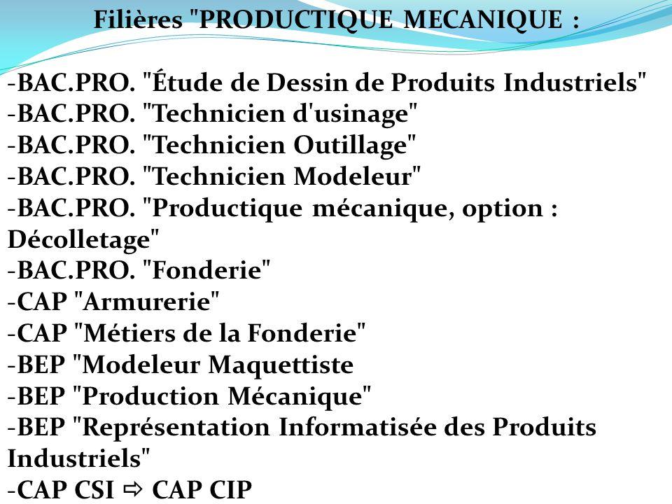 Filières PRODUCTIQUE MECANIQUE :