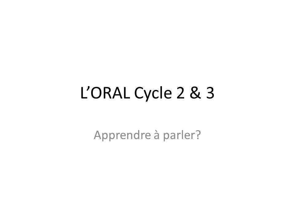 L'ORAL Cycle 2 & 3 Apprendre à parler