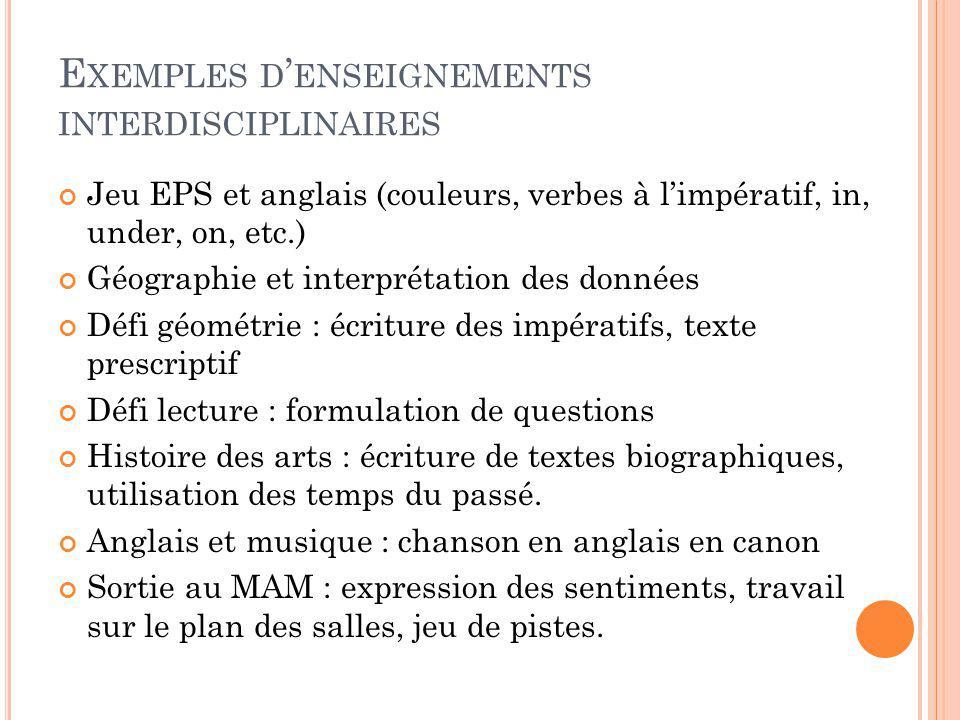 Exemples d'enseignements interdisciplinaires